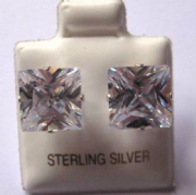 9mm Square Princess cut clear Cubic Zirconia Silver Stud Earrings